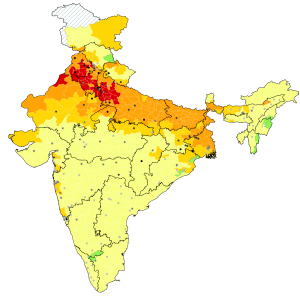 Map of pollution in India, as tracked by Greenstone and his team at EPIC. Photo courtesy EPIC