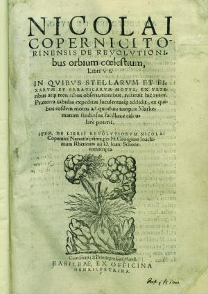 Copernicus proposed his heliocentric theory in 'On the Revolutions of the Heavenly Spheres' (1543). This copy, owned by University of Chicago Library's Special Collection Research Center, was published in 1566.