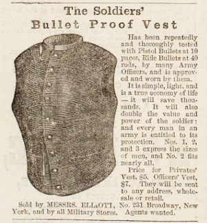 "An 1862 ad for a bulletproof vest in Harper's Weekly (above) promises to ""double the value and power of the solider,"" while the breastplate of such a vest, found on a Shiloh battlefield, reveals its penetrability."