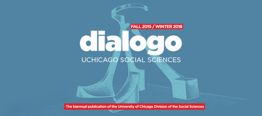 illustrated photo of the dialogo sculpture on the UChicago campus