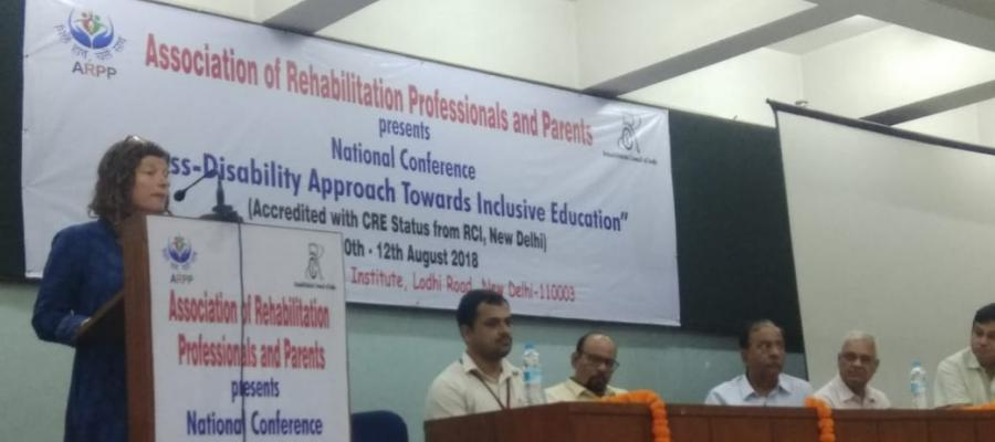 "Professor Friedner speaks at the national conference on ""Cross-Disability Approach Towards Inclusive Education."""