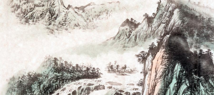 Ink painting of Asian mountains and trees