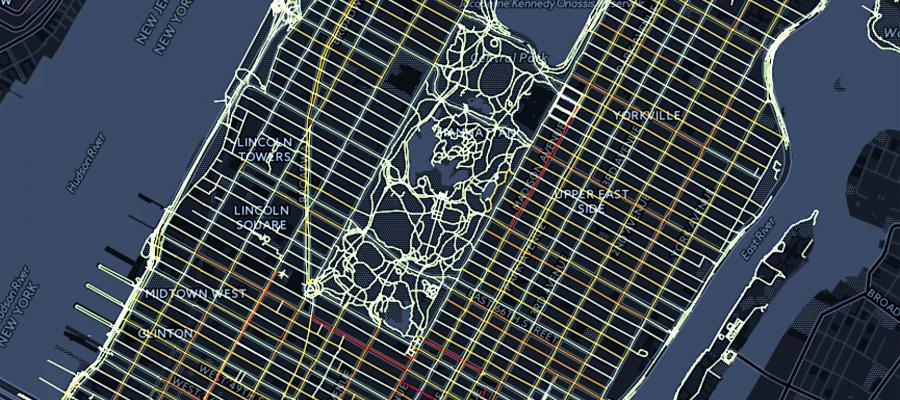 The above image shows an example of how cloud mapping platform GeoDa-Web can be used to explore spatial patterns in traffic accidents in Manhattan, N.Y. GeoDa-Web is currently under development at the Center for Spatial Data Science.